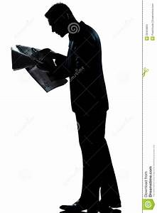 Silhouette Man Full Length Reading Newspaper Stock Photo ...
