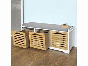 Meuble De Rangement Entrée : banc de rangement avec coussin rembourr et 3 cubes meuble d 39 entr e commode chaussure ~ Farleysfitness.com Idées de Décoration