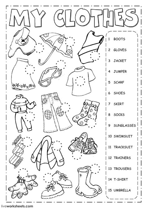 the clothes worksheet