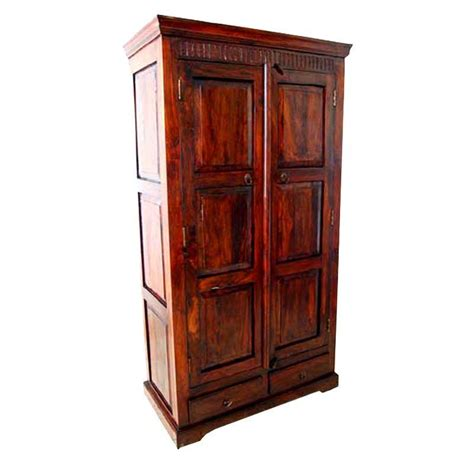wardrobe cabinet with drawers marengo rustic solid wood handcrafted 2 drawer armoire