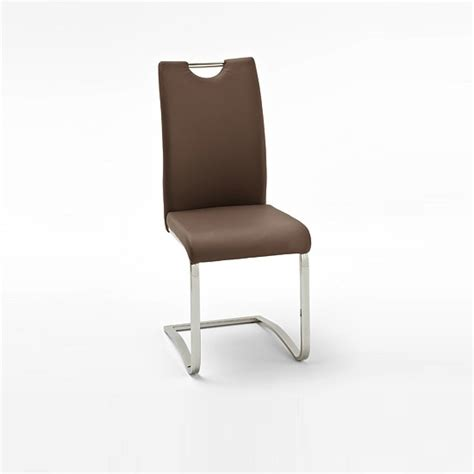 koln dining chair in brown faux leather with chrome legs