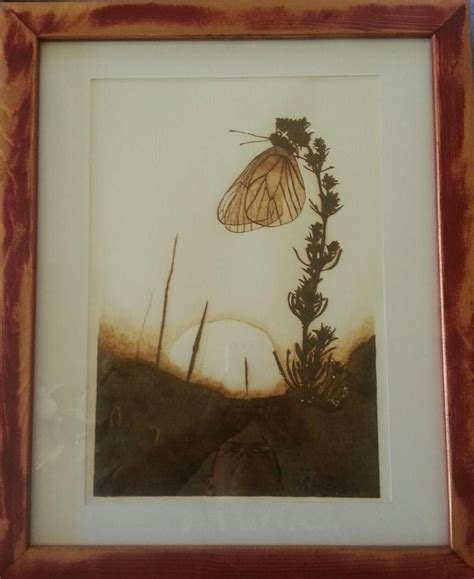 butterfly sunrise pyrography  paper  framed wall