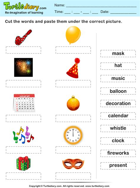 christmas word match worksheet turtle diary