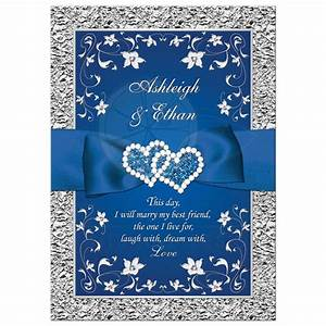 Royal blue wedding invitation faux foil silver floral for Royal blue and grey wedding invitations