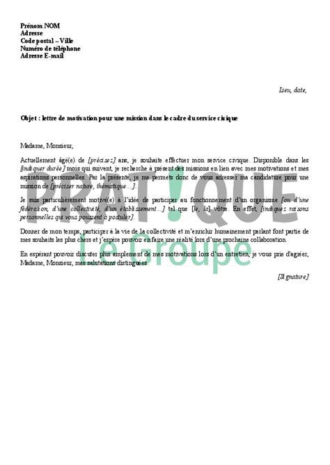 lettre de motivation dans le cadre du service civique pratique fr