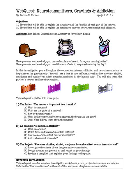 addiction and the brain worksheet the best and most