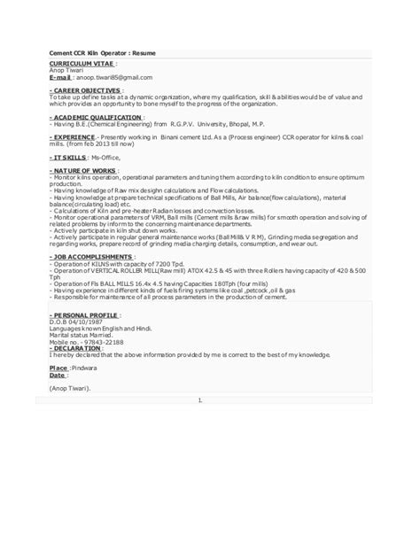 chemical plant operator sle resume unique mechanical