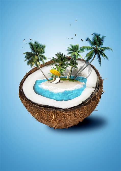 creative coconut island scenery stock photo nature stock