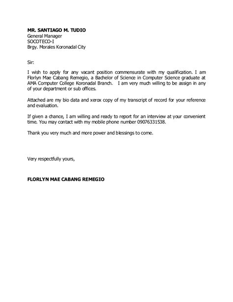 14992 application letter for any position without experience application letter