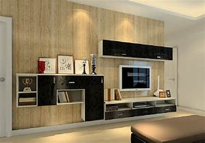3D TV wall decoration with wood grain wallpaper