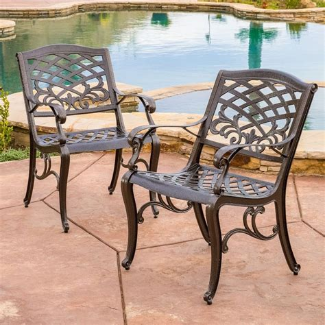Outdoor Patio Chairs by Set Of 2 Outdoor Patio Furniture Bronze Cast Aluminum