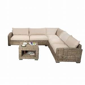 Salon d'angle en rotin, canapé d'angle en rotin et table basse Rotin Design