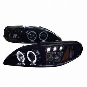 1994-1998 Ford Mustang Smoke Projector Headlights - 2LHP-MST94G-V2-TM
