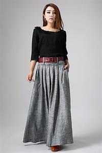 Grey Maxi Skirt Long Linen Skirt Pleat Skirt-Woman