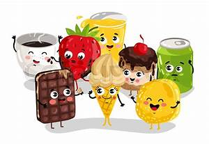 Cute sweet food and drink cartoon character set isolated ...