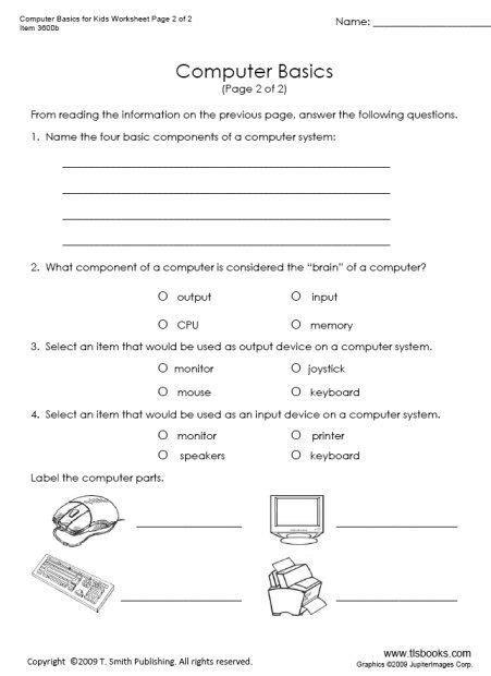 computer lesson worksheets    images
