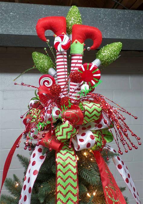 elf legs christmas tree topper ready to ship