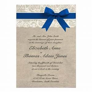 ivory lace royal blue burlap wedding invitation blue With blue line wedding invitations