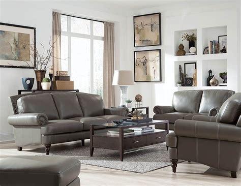 juliette battleship grey leather living room set wh