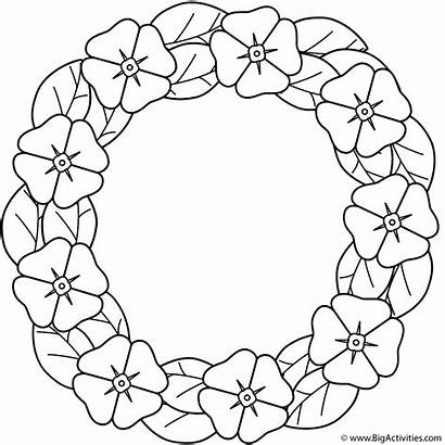 Coloring Poppy Wreath Memorial Poppies Activity Remembrance