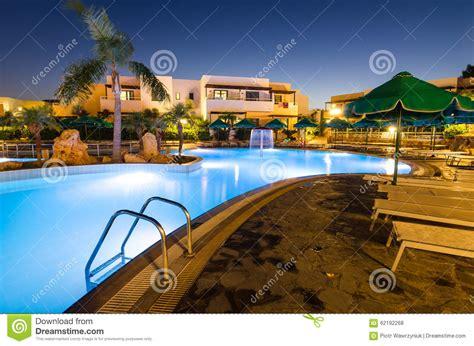 Beautiful Swimming Pool At Twilight Editorial Photo