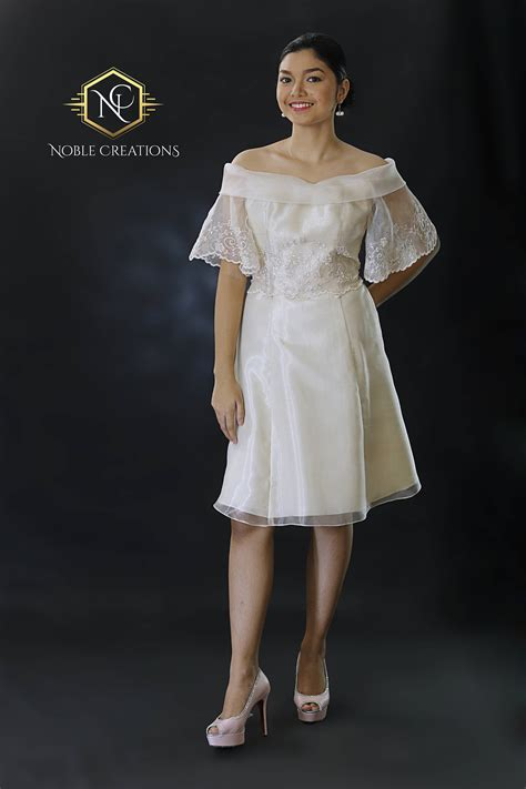 FILIPINIANA Dress BARONG TAGALOG Philippine National Costume Embroidered Silk Organza - Beige