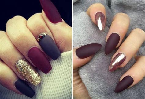 Стильные матовые бордовые ногти