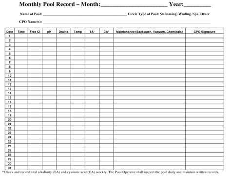 monthly pool record chart template  printable