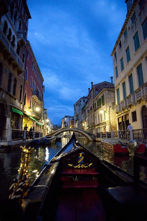 Gondola Ride Venice Italy At Night Lifestyle And Color