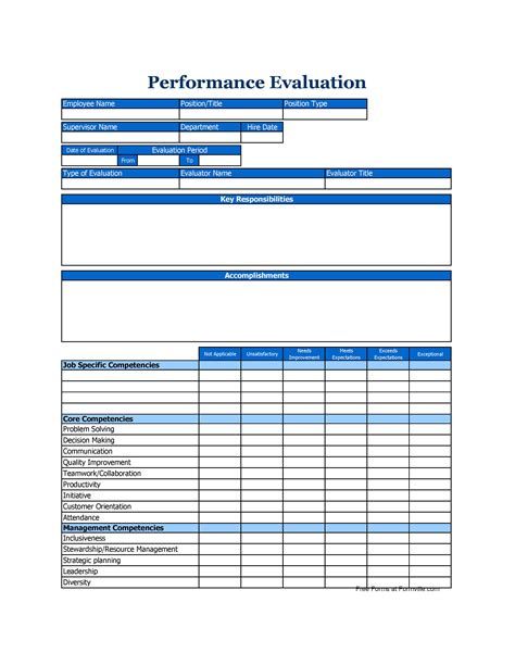 Performance Review Template 46 Employee Evaluation Forms Performance Review Exles
