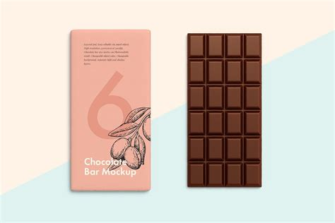 Fully customizable and free chocolate bar mockup that includes a unique arrangement of 4 packaging and a chocolate bar to showcase your designs. Chocolate Bar Product Mockup #67243