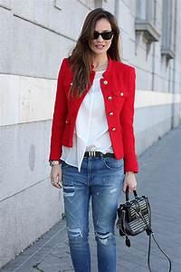 red tweed jacket looks Lady Addict