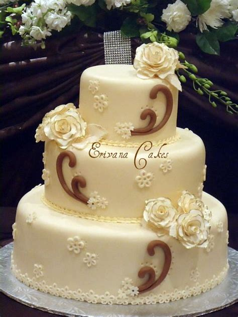 Brown And Ivory Wedding Cake From