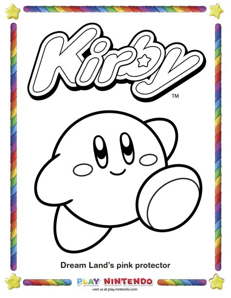 kirby nintendo coloring pages play nintendo