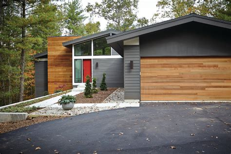 mid century modern midcentury exterior grand rapids by new home builders