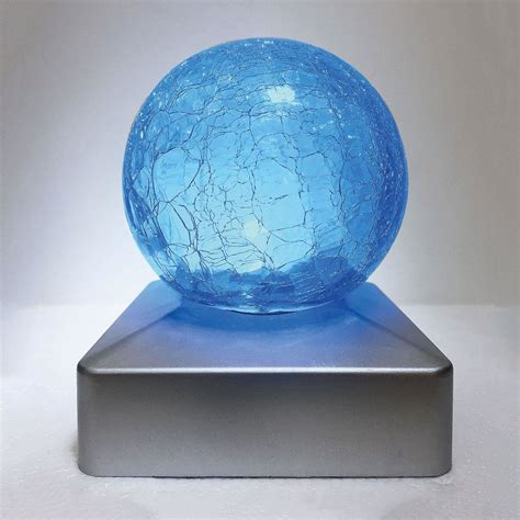 Crackle Glass Ball Solar Powered Led Outdoor Garden Deck