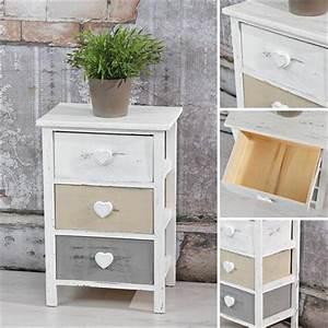 Holzschrank Weiß Streichen : regal 3 schubladen holzschrank grau wei herz ~ Markanthonyermac.com Haus und Dekorationen