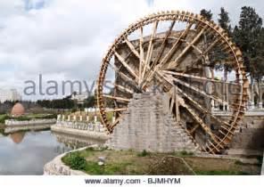l water wheel syria hama noria irrigation wooden waterwheel on the