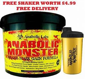 Anabolic Monster Weight Mass Gain Whey Protein Powder Shake  Drink Build Muscle