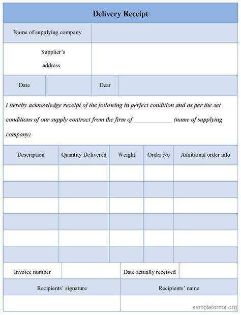 delivery receipt template delivery receipt form sle forms