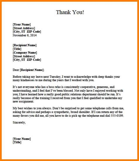 Thank You Letter Appreciation Your Boss