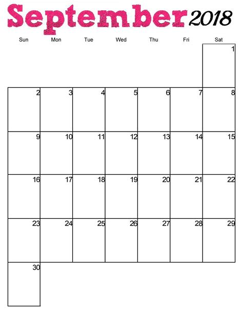 Blank Calendar September 2018 Printable