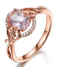 Vintage 1 Carat Morganite and Diamond Engagement Ring in Rose Gold, Women's, Size: 7