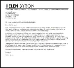 receptionist exle cover letter hotel receptionist cover letter sle livecareer