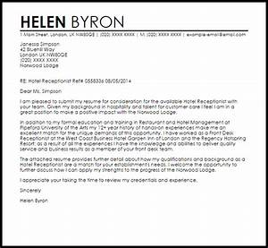 Hotel Receptionist Cover Letter Sample