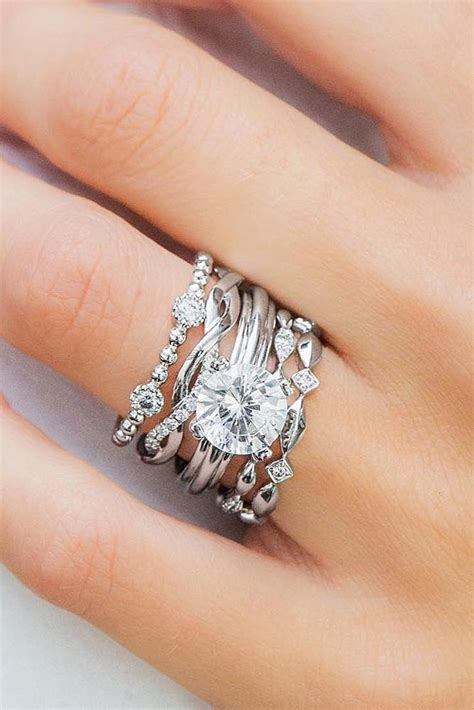 stackable wedding rings set  rings  shine