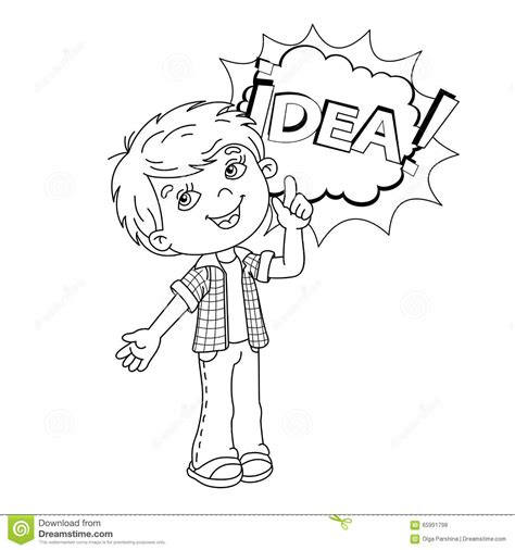 coloring page outline  cartoon boy  great idea stock