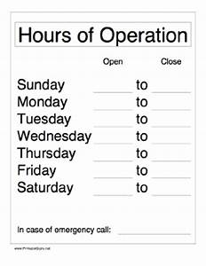 printable hours of operation sign With hours of operation template microsoft word