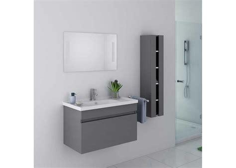 beau meuble de salle de bain gris taupe suspendu meuble