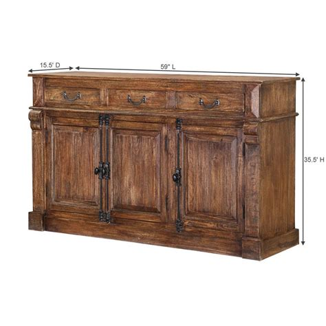 Sideboard Buffet Cabinet by Ansonia Rustic Solid Wood 3 Drawer Sideboard 2 Cabinet